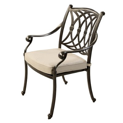 Traditional Patio Armchair with Tan Cushion - Montreal