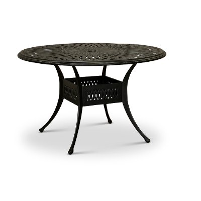 Traditional 48 Inch Round Metal Patio Table - Montreal