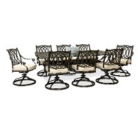 9 Piece Patio Table with Swivel Chairs - Montreal