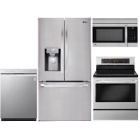 KIT LG 4 Piece Electric Kitchen Appliance Package with 26.2 cu. ft. French Door Refrigerator - Stainless Steel
