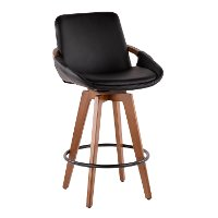 B26-COSMO-WL-BK Mid Century Black and Brown 26 Inch Counter Height Stool - Cosmo