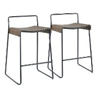 B26-DALI-BKE2 Black and Brown Metal Counter Height Stools (Set of 2) - Dali