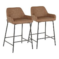 B24-DNLA-BKE2 Dark Brown and Black Faux Leather Counter Height Stool (Set of 2) - Daniella