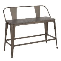 BC26-OR-ANE Farmhouse Antique and Brown Metal Counter Height Bench - Oregon