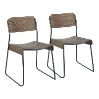 CH-DALI-BKE2 Industrial Wood and Metal Dining Room Chair (Set of 2) - Dali