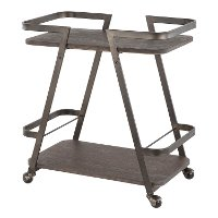 BTC-SVEN-AN-E Industrial Antique Metal and Espresso Wood-Pressed Bamboo Bar Cart - Seven