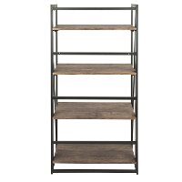 OBC-DKTA-BK-BN Industrial Black Metal and Wood Bookcase - Dakota