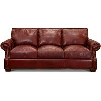 Contemporary Red Leather Sofa - Marsala