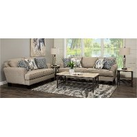Contemporary Linen Beige 7 Piece Living Room Set - Bryn