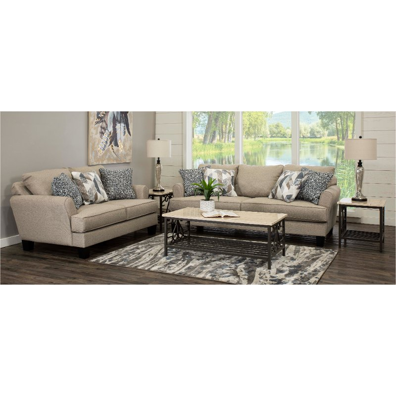 Contemporary Linen Beige 7 Piece Living Room Set - Bryn | RC Willey Furniture Store