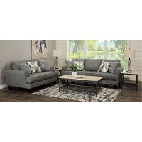 Contemporary Steel Gray 7 Piece Living Room Set - Bryn