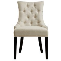 Cream and Black Upholstered Dining Room Chair - Modern Eclectic