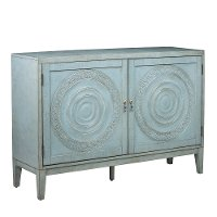 Distressed Pale Blue Embossed Sideboard - Modern Eclectic