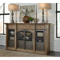 Industrial Warm Oak Dining Room Sideboard - Modern Eclectic