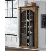Industrial Wood and Metal Display Cabinet - Modern Eclectic