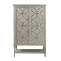 Silver Leaf Tall Door Chest - Modern Eclectic