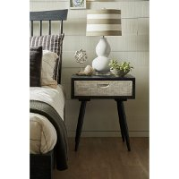 Rustic Weathered Black Leg Nightstand - Modern Eclectic
