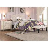 Beige Queen Upholstered Headboard and Bench Set - Modern Eclectic
