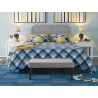 Gray Queen Upholstered Headboard and Bench Set - Modern Eclectic