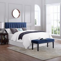 Blue Queen Upholstered Headboard and Bench Set - Modern Eclectic
