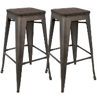 BS-TW-OR-DK-AN2 Industrial Antique Metal Stackable Bar Stool (Set of 2)- Oregon
