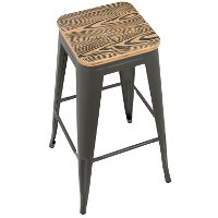 BS-TW-OR-BN-GY2 Industrial Gray Stackable Bar Stool (Set of 2)- Oregon
