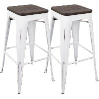 BS-OR-VW-E2 Industrial White Stackable Bar Stool (Set of 2)- Oregon