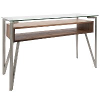 TBC-HVR-WL Mid Century Steel and Walnut Brown Sofa Table - Hover