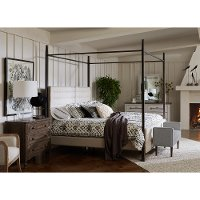Modern Metal and Linen Queen Canopy Bed - Modern Eclectic