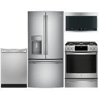 KIT GE Profile 4 Piece Gas Appliance Package with French Door Refrigerator - Stainless Steel