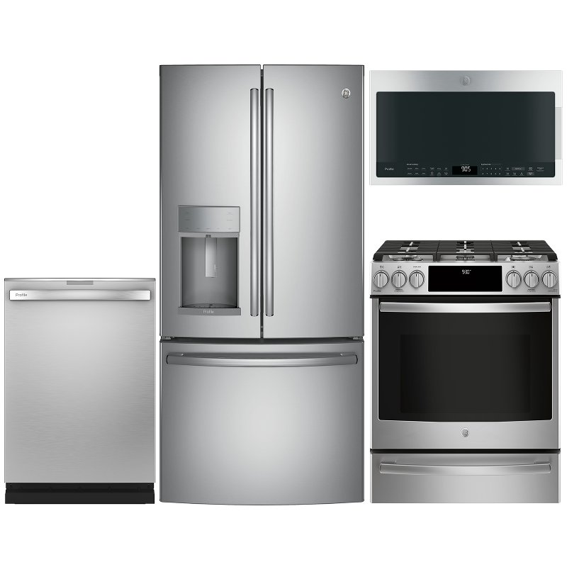 GE Profile 4 Piece Gas Appliance Package with French Door Refrigerator -  Stainless Steel