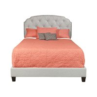 Traditional Gray Queen Upholstered Bed - Modern Eclectic