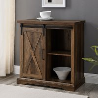 Rustic Farmhouse Rustic Oak Accent Cabinet - Barn Door