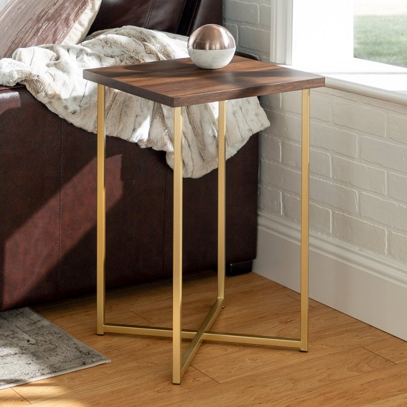 Glam Dark Walnut And Gold Side Table Luxe
