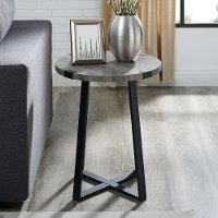 Slate Gray Rustic Side Table - Metal Wrap
