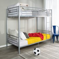 Modern Silver Metal Twin-over-Twin Bunk Bed