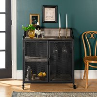 Industrial Gray 33 Inch Bar Cabinet