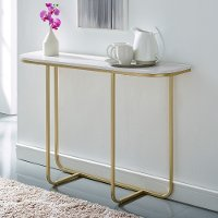 Marble and Gold Glam Entry Table - Harley