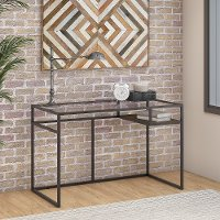 Rustic Brown 48 inch Glass Top Writing Desk with Shelf - Anthropology