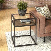 Rustic Brown Glass Top End Table - Anthropology