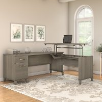 Ash Gray 72 Inch 3 Position Sit to Stand L Shaped Desk - Somerset