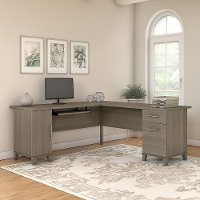 Contemporary Ash Gray 72 Inch L-Shaped Desk - Sommerset