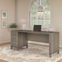Ash Gray Office Desk with Drawers - Somerset