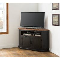 Black and Honey Pine Corner TV Stand - Rustic
