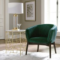 Gold End Table with White Marble Top - Modern Eclectic