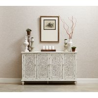 Ornate Antique White 60 Inch White 4 Door Console - Modern Eclectic