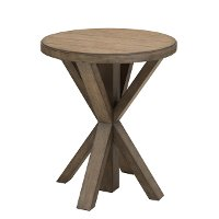 Light Oak Plank Top Round End Table - Modern Eclectic