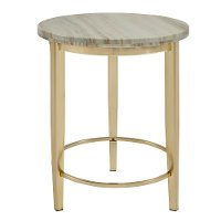 Marble and Gold Round End Table - Modern Eclectic