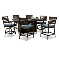 7 Piece Patio Fire Pit Dining Table - Adeline
