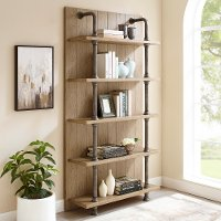 Industrial Bookcase with Metal Pipes - Modern Eclectic
